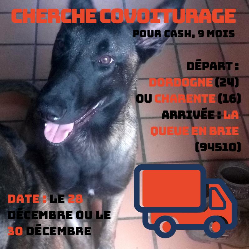 Covoiturage le 28/12 ou le 30/12 : départ Dordogne ou Charente, arrivée La Queue en Brie (Val de Marne)