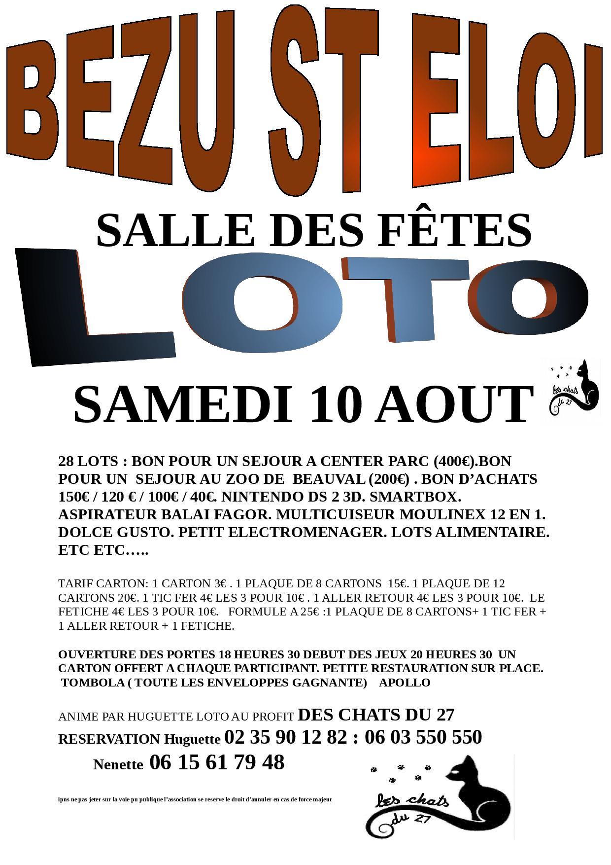 Grand Loto au profit des chats du 27 le samedi 10 août 2019 à Bezu Saint Eloi
